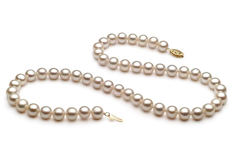 Halskette mit weißen, 7.5-8.5mm großen Süßwasserperlen in AA-Qualität , Marjam