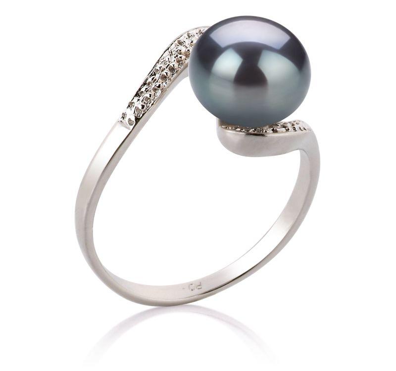 Ring mit schwarzen, 9-10mm großen Süßwasserperlen in AA-Qualität , Marlene