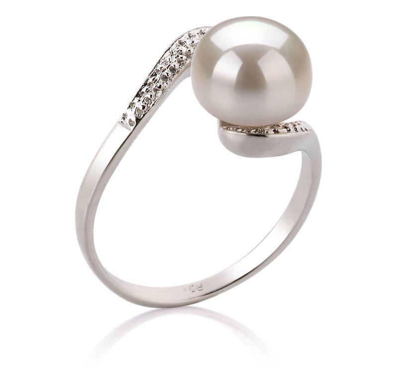 Ring mit weißen, 9-10mm großen Süßwasserperlen in AA-Qualität , Marlene