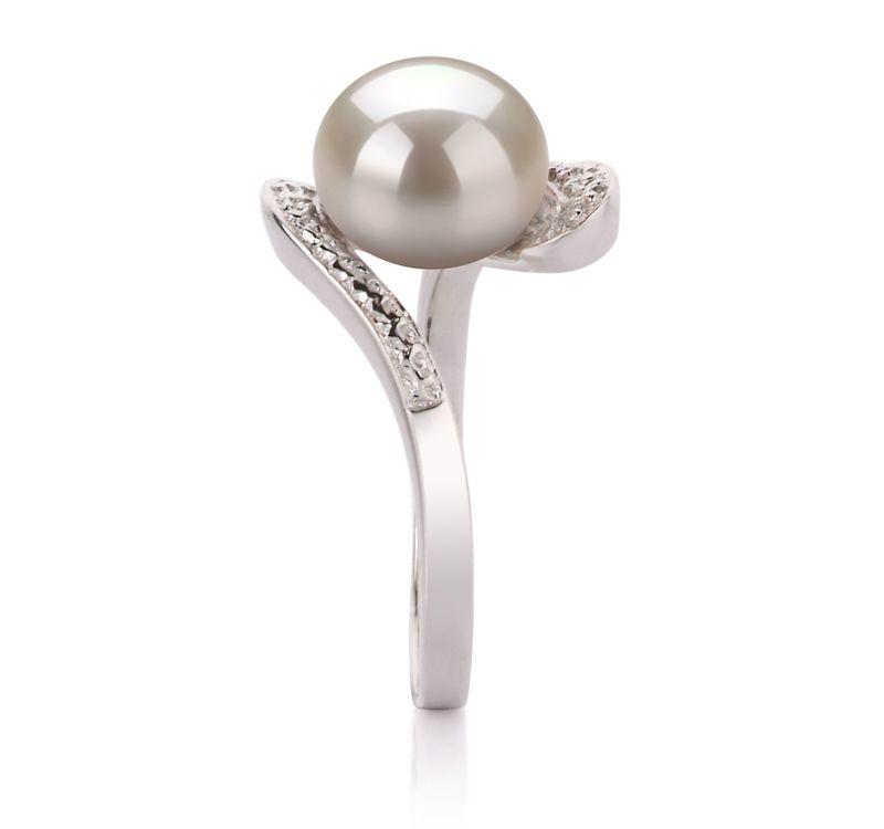 PearlsOnly - Ring mit weißen, 9-10mm großen Süßwasserperlen in AA-Qualität , Marlene