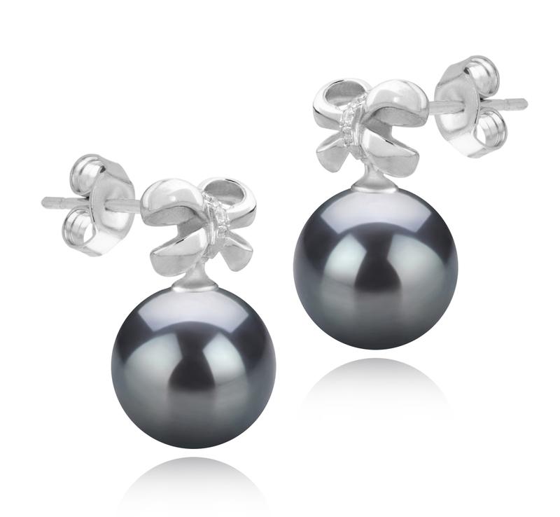 Paar Ohrringe mit schwarzen, 9-10mm großen Tihitianischen Perlen in AAA-Qualität , Marte