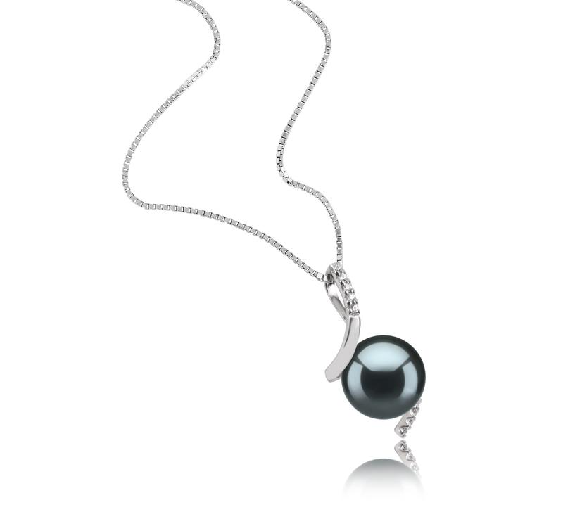 9-10mm AAA-Qualität Tahitisch Perlenanhänger in Mathilde Schwarz