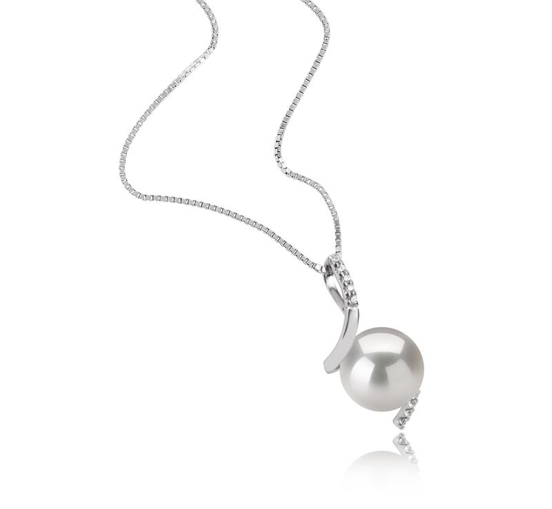 9-10mm AAAA-Qualität Süßwasser Perlenanhänger in Mathilde Weiß
