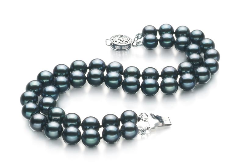 PearlsOnly - Armreifen mit schwarzen, 6-7mm großen Janischen Akoya Perlen in AA-Qualität , Mayra