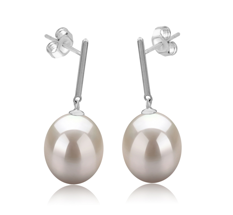 9-10mm AAA-Qualität Süßwasser Paar Ohrringe in Melinda Weiß