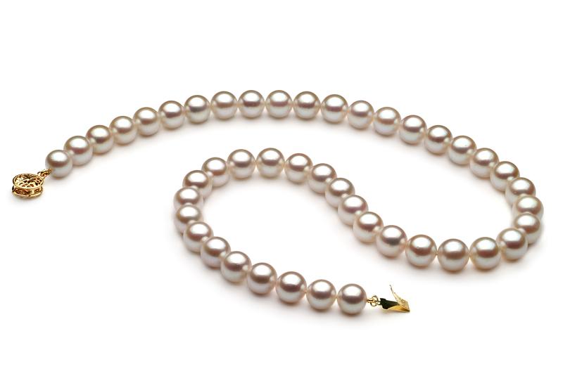 Halskette mit weißen, 8.5-9mm großen Janischen Akoya Perlen in AA-Qualität , Melisa
