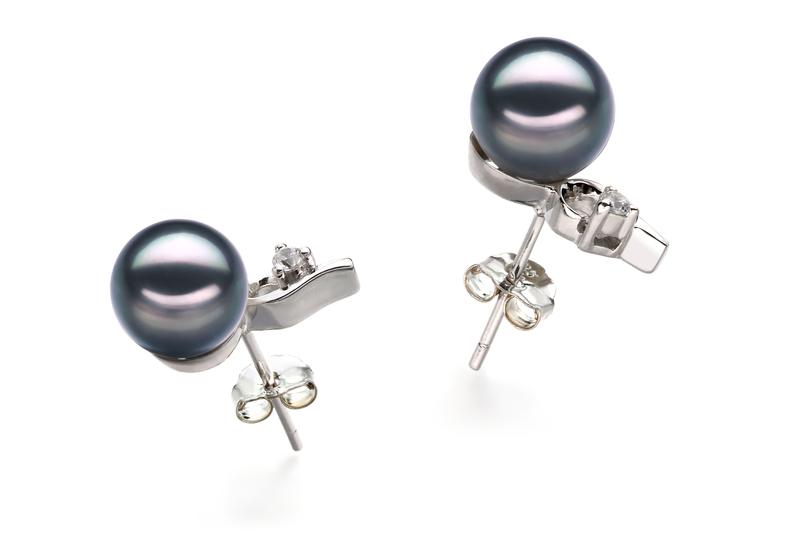 Paar Ohrringe mit schwarzen, 7-8mm großen Janischen Akoya Perlen in AA-Qualität , Melissa