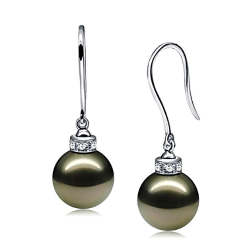 Paar Ohrringe mit schwarzen, 9-10mm großen Tihitianischen Perlen in AAA-Qualität , Merry