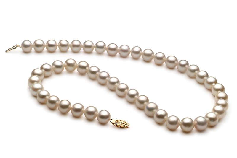 Halskette mit weißen, 8.5-9mm großen Süßwasserperlen in AA-Qualität , Milda