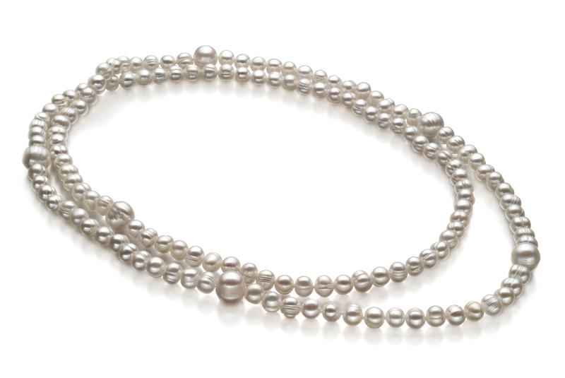 Halskette mit weißen, 6-11mm großen Süßwasserperlen in A-Qualität , Mira