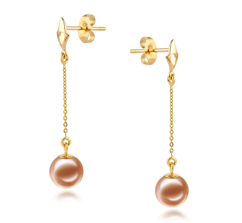 Paar Ohrringe mit rosafarbenen, 6-7mm großen Süßwasserperlen in AAAA-Qualität , Misha