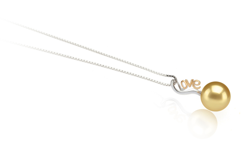 10-11mm AAA-Qualität Südsee Perlenanhänger in Nelia Gold