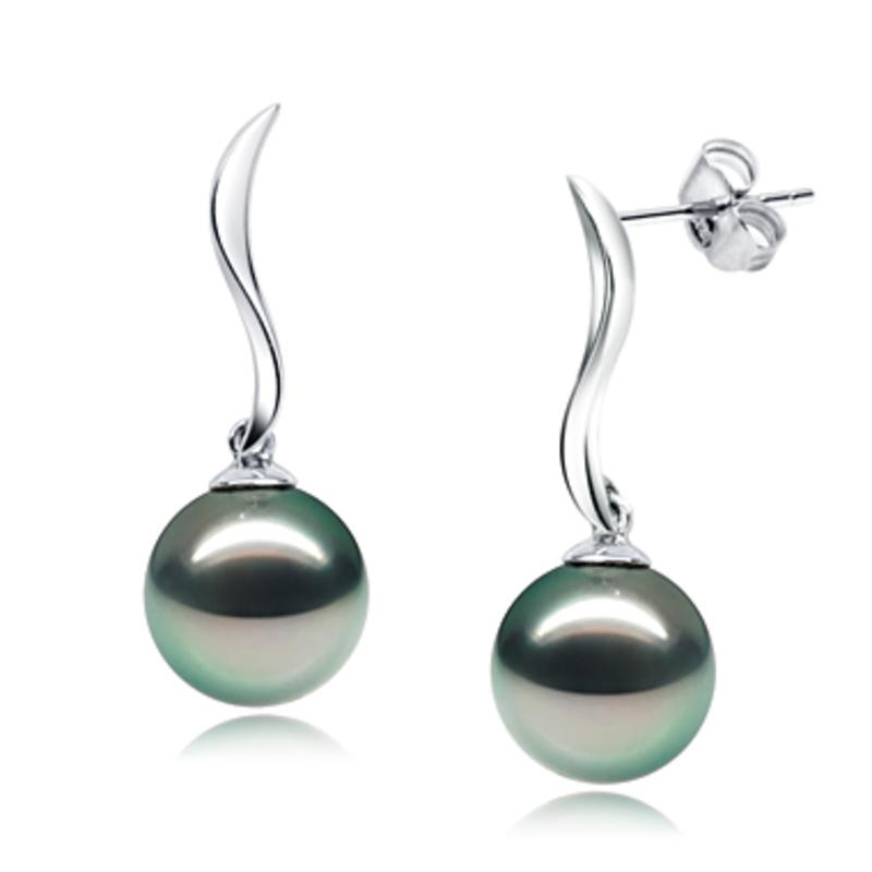 Paar Ohrringe mit schwarzen, 9-10mm großen Tihitianischen Perlen in AAA-Qualität , Mystical