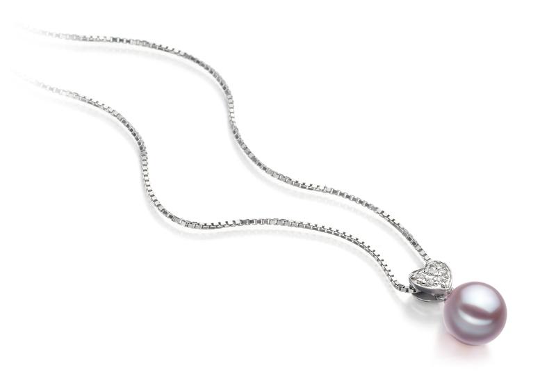 7-8mm AAAA-Qualität Süßwasser Perlenanhänger in Nadja Lavendel