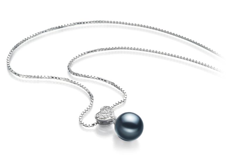 Anhänger mit schwarzen, 7-8mm großen Janischen Akoya Perlen in AA-Qualität , Nadja