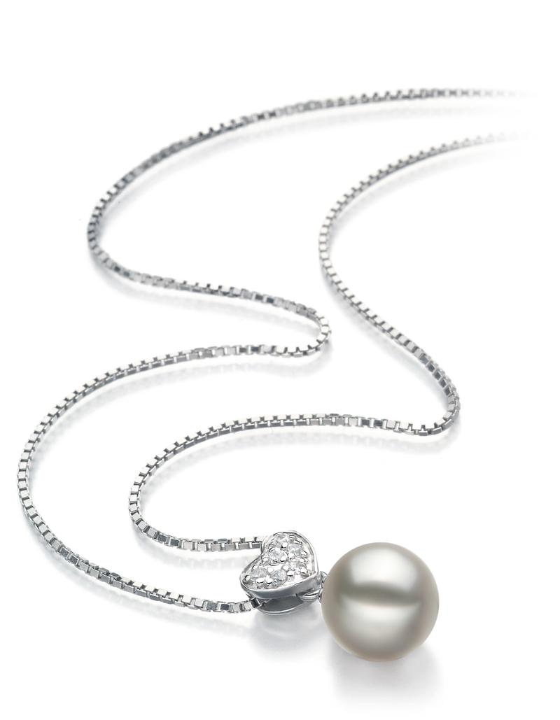 Anhänger mit weißen, 7-8mm großen Janischen Akoya Perlen in AA-Qualität , Nadja