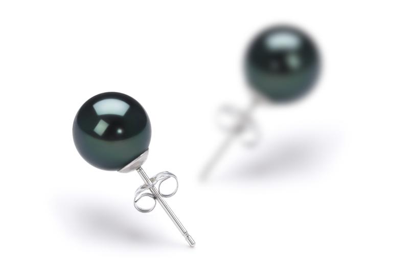Paar Ohrringe mit schwarzen, 7-8mm großen Janischen Akoya Perlen in AA-Qualität , Nelly