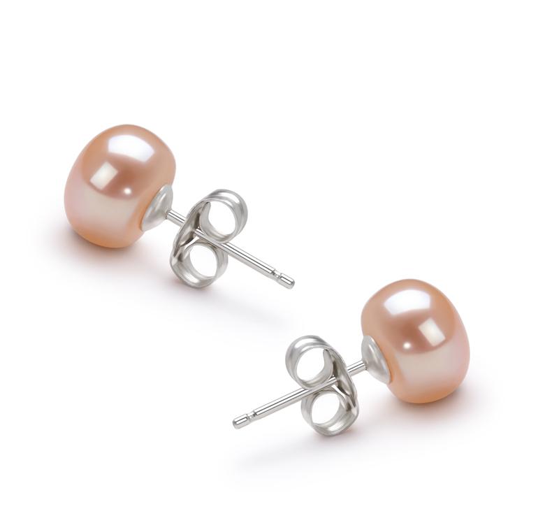 Paar Ohrringe mit rosafarbenen, 7-8mm großen Süßwasserperlen in AA-Qualität , Nia