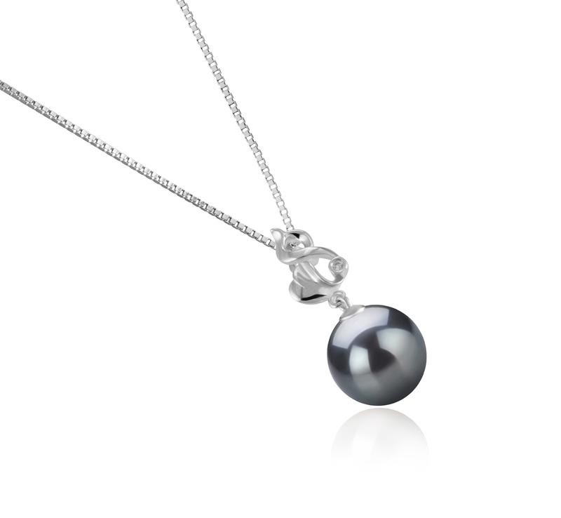 Anhänger mit schwarzen, 10-11mm großen Tihitianischen Perlen in AAA-Qualität , Niamh
