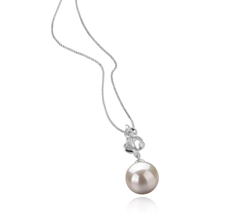 10-11mm AAAA-Qualität Süßwasser Perlenanhänger in Niamh Weiß