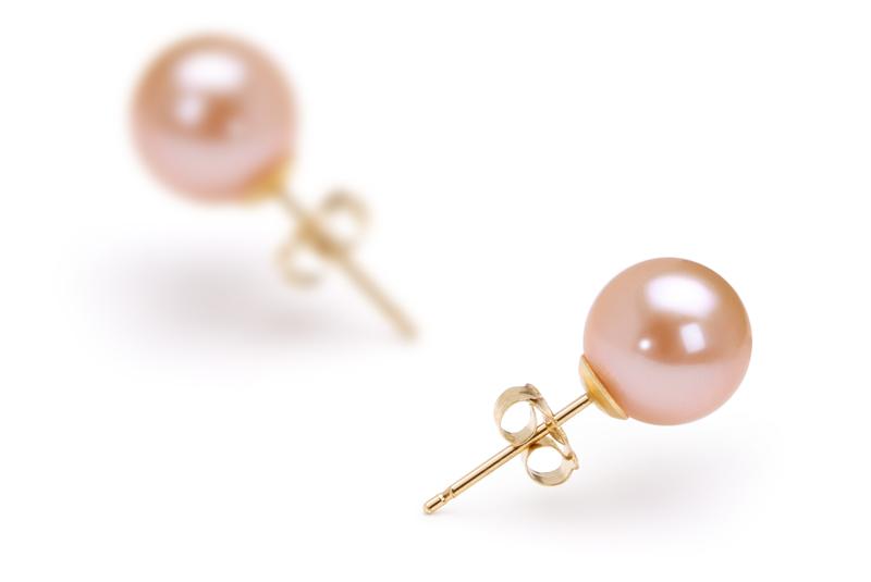 PearlsOnly - Paar Ohrringe mit rosafarbenen, 7-8mm großen Süßwasserperlen in AAAA-Qualität , Noelia