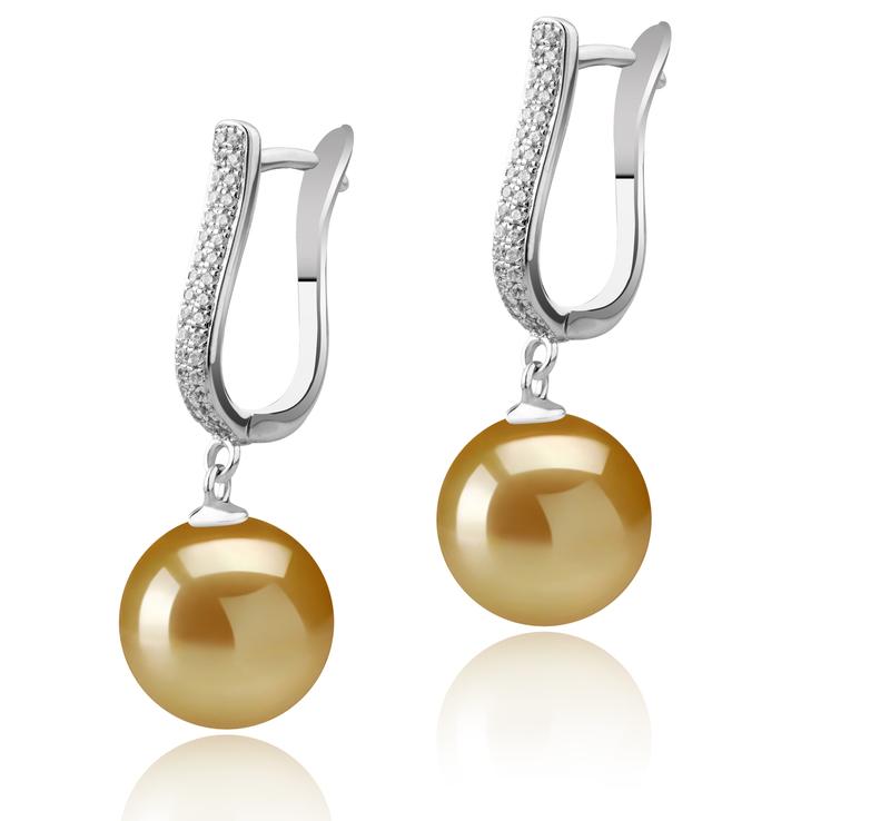 10-11mm AAA-Qualität Südsee Paar Ohrringe in Ophelia Gold
