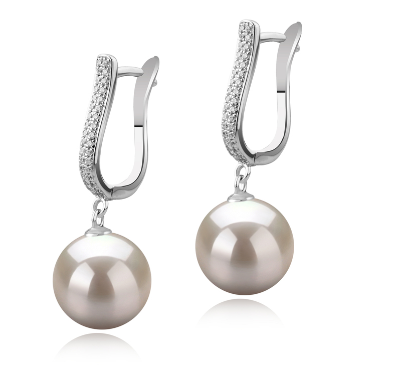 Paar Ohrringe mit weißen, 10-11mm großen Süßwasserperlen in AAAA-Qualität , Ophelia