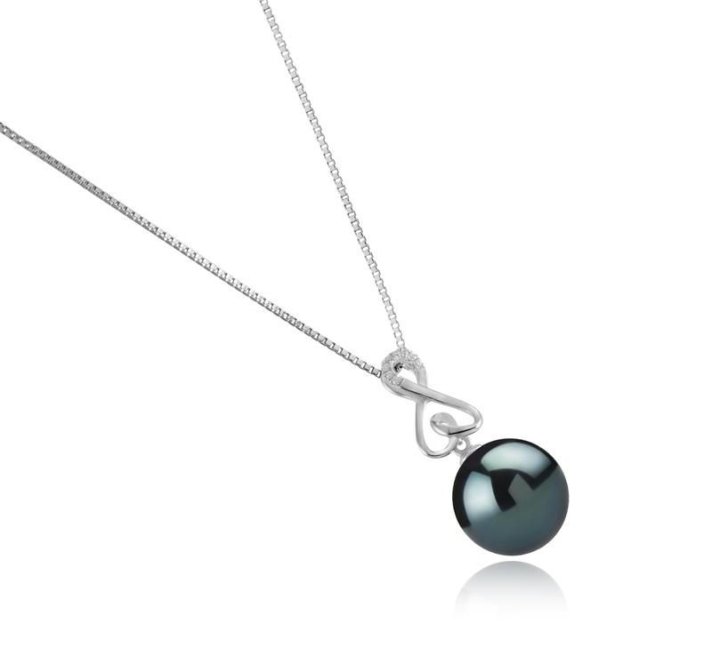 Anhänger mit schwarzen, 12-13mm großen Tihitianischen Perlen in AAA-Qualität , Patsy