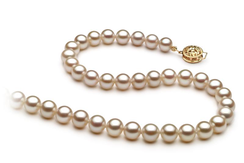 Halskette mit weißen, 6-7mm großen Süßwasserperlen in AAA-Qualität , Paula