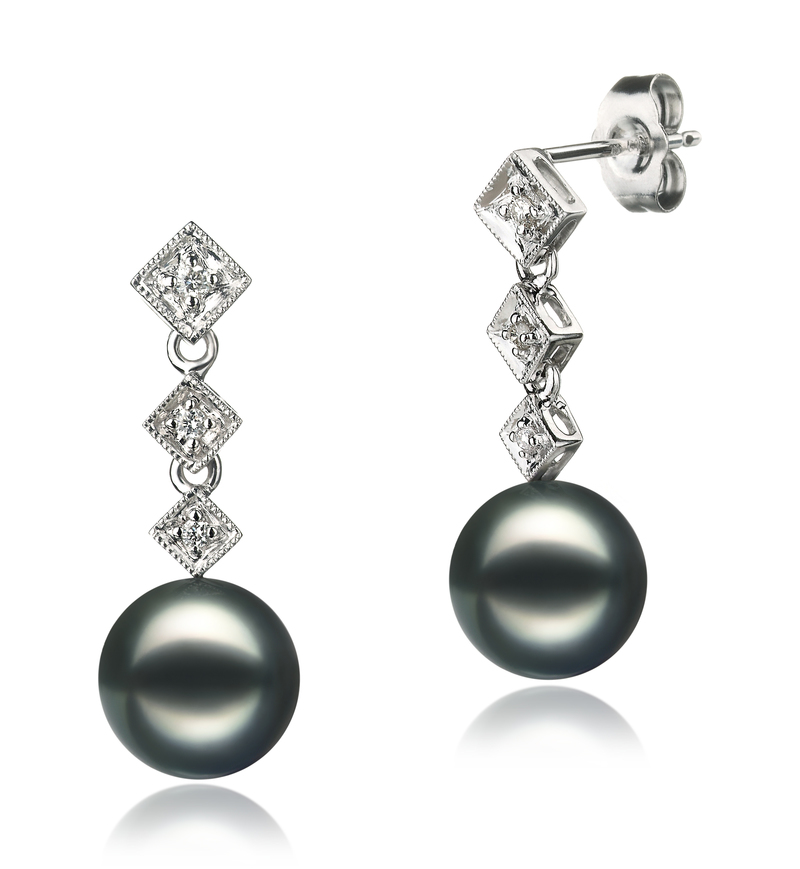 Paar Ohrringe mit schwarzen, 8-9mm großen Janischen Akoya Perlen in AAA-Qualität , Paulina