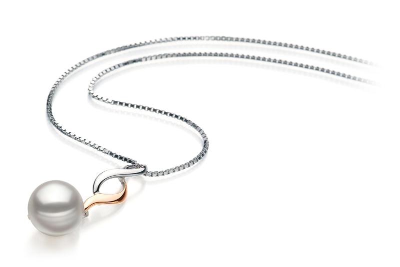 Anhänger mit weißen, 8-9mm großen Janischen Akoya Perlen in AA-Qualität , Pennie