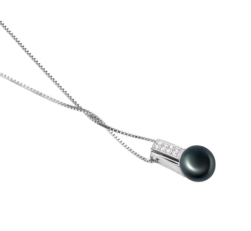 8-9mm AAA-Qualität Süßwasser Perlenanhänger in Alina Schwarz