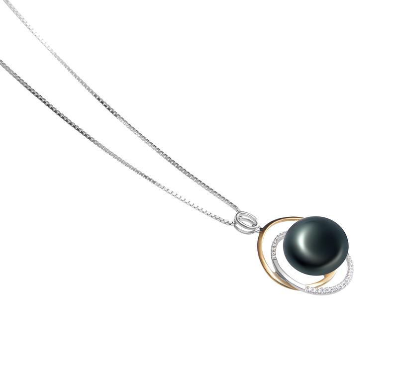 12-13mm AA-Qualität Süßwasser Perlenanhänger in Judith Schwarz
