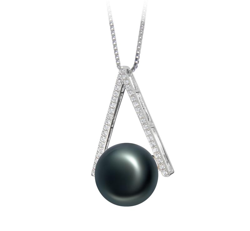 12-13mm AA-Qualität Süßwasser Perlenanhänger in Dreieck Schwarz