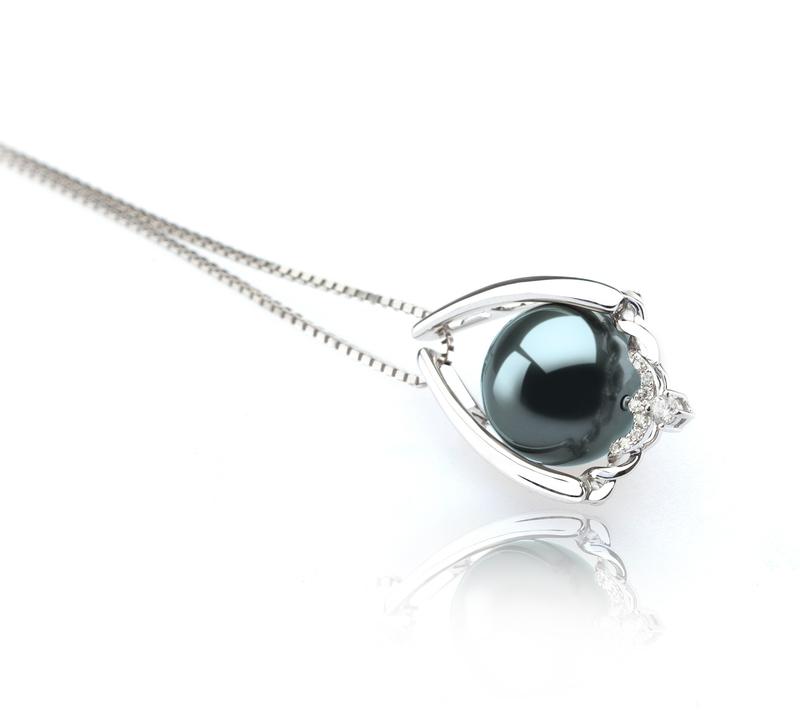 Anhänger mit schwarzen, 10-11mm großen Tihitianischen Perlen in AAA-Qualität , Susan