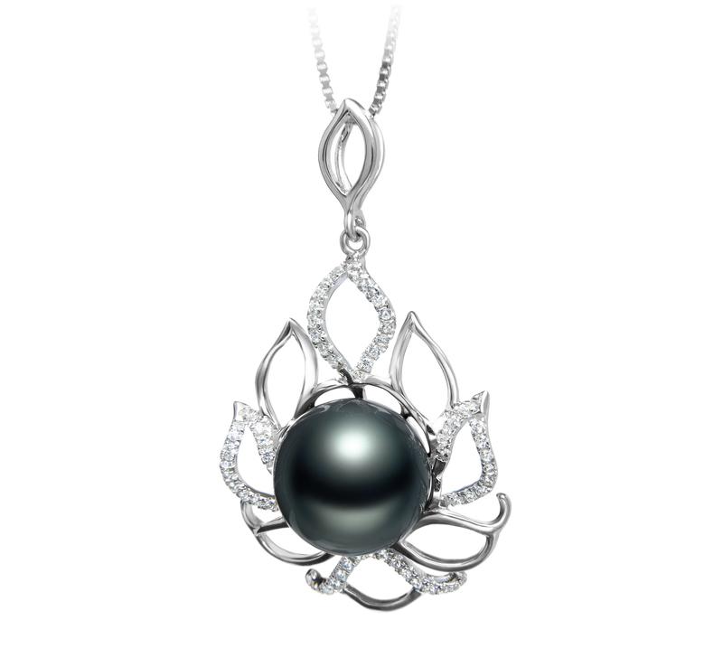 Anhänger mit schwarzen, 12-13mm großen Tihitianischen Perlen in AAA-Qualität , CALIDA