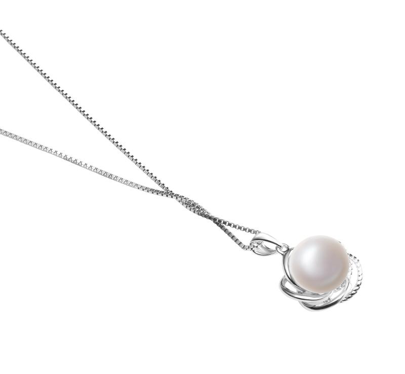 9-10mm AA-Qualität Süßwasser Perlenanhänger in Bobbie Weiß
