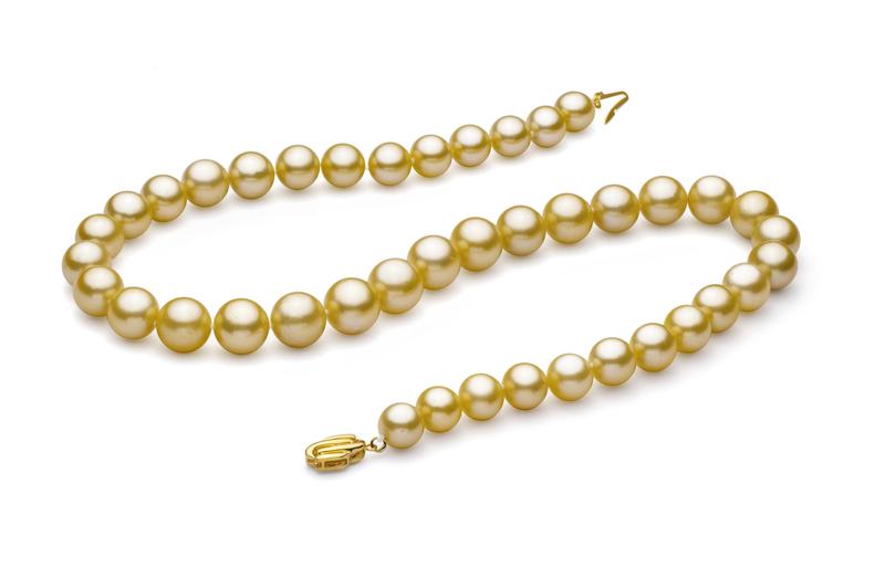 Halskette mit goldfarbenen, 9-11.7mm großen Südseeperlen in AAA-Qualität