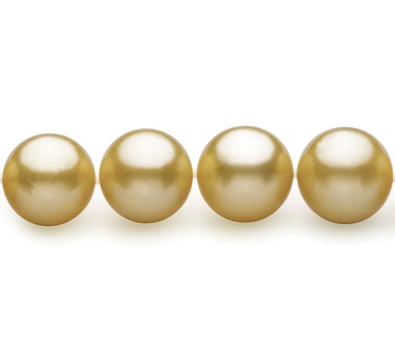9-11.8mm AAA-Qualität Südsee Perlenhalskette in Gold