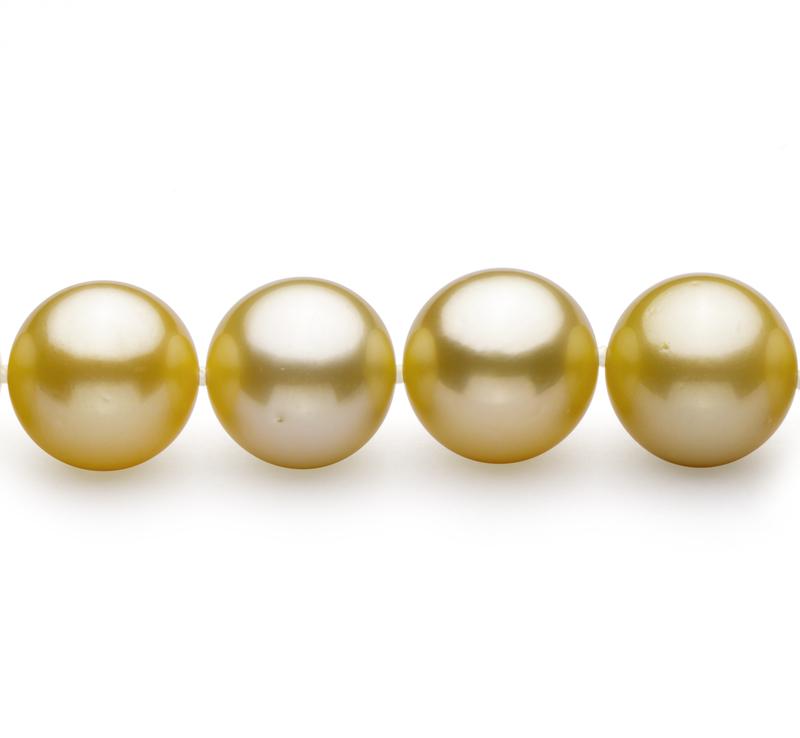 Halskette mit goldfarbenen, 10.89-12.75mm großen Südseeperlen in AAA-Qualität