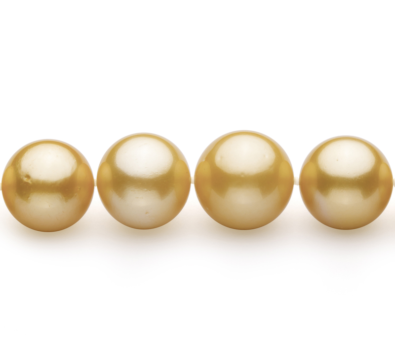 11.5-15.2mm AAA+-Qualität Südsee Perlenhalskette in Gold