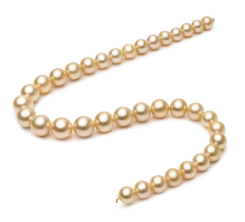 Halskette mit goldfarbenen, 10-13.3mm großen Südseeperlen in AAA-Qualität , 18-Zoll