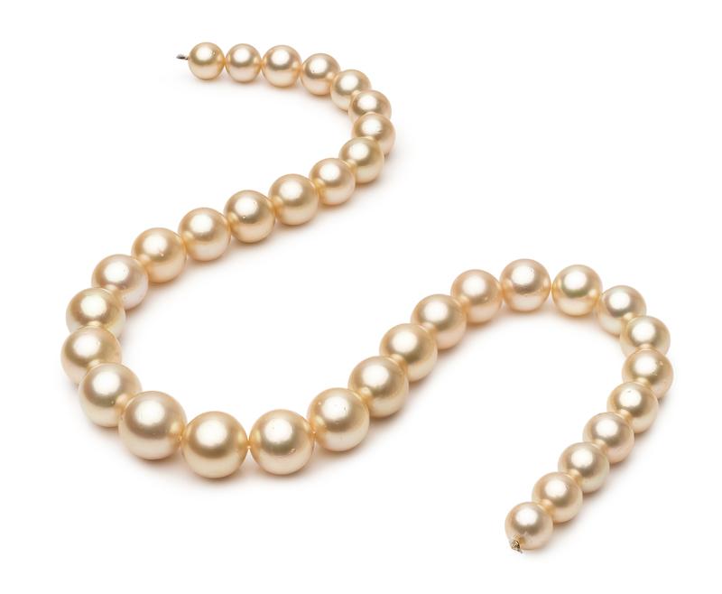 Halskette mit goldfarbenen, 9.3-13.3mm großen Südseeperlen in AA-Qualität , 18-Zoll