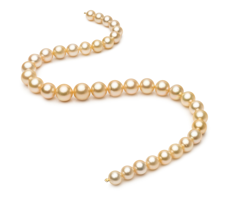Halskette mit goldfarbenen, 9.3-13.2mm großen Südseeperlen in AA+-Qualität , 18-Zoll
