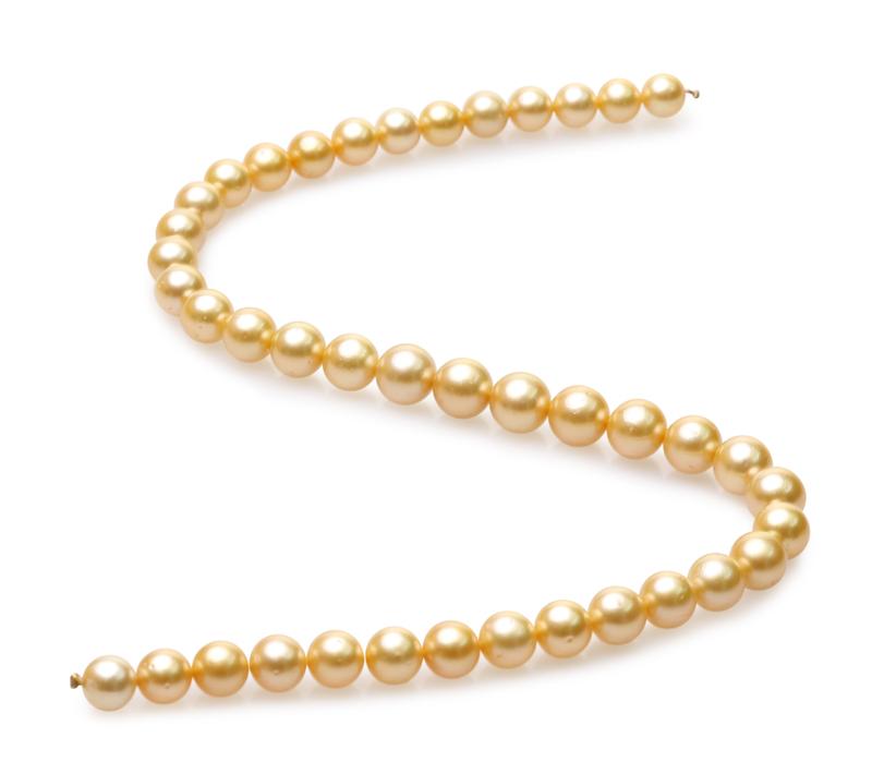 Halskette mit goldfarbenen, 9-11.4mm großen Südseeperlen in AA-Qualität , 18-Zoll