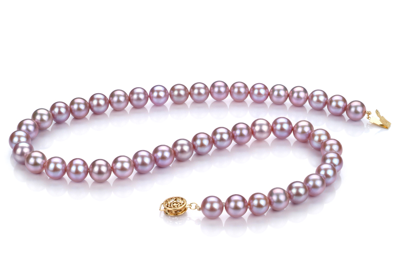 Halskette mit lavendelfarbenen, 8.5-9.5mm großen Süßwasserperlen in AAAA-Qualität