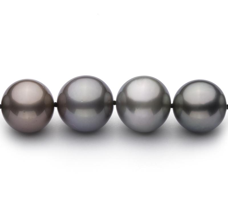 Halskette mit mehrfarbigen, 9.22-13.87mm großen Tihitianischen Perlen in AA+-Qualität
