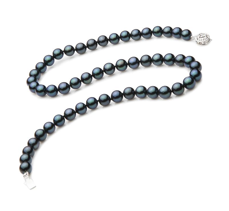 Halskette mit schwarzen, 7-7.5mm großen Janischen Akoya Perlen in AA-Qualität