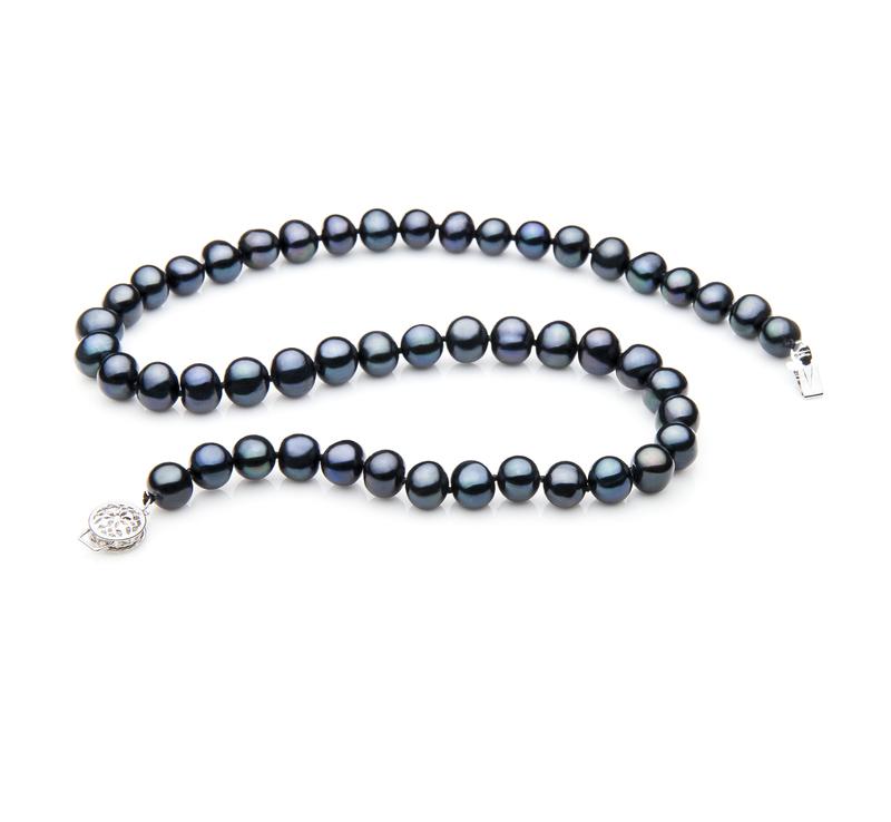 Halskette mit schwarzen, 7-8mm großen Süßwasserperlen in A-Qualität , Einzelne