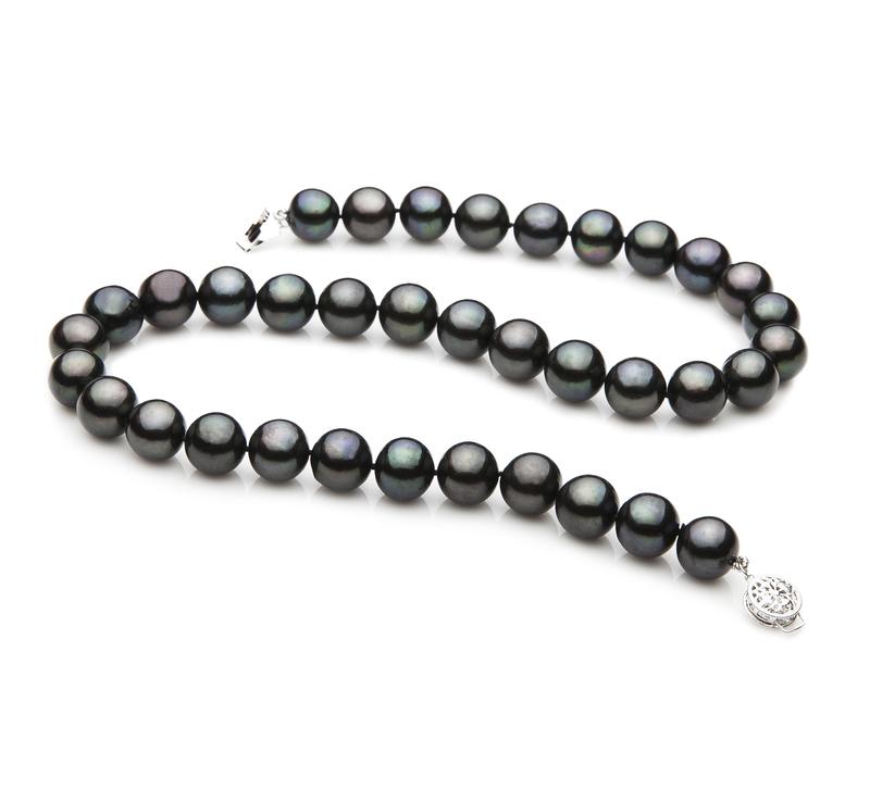 Halskette mit schwarzen, 9.5-10.5mm großen Süßwasserperlen in AAA-Qualität